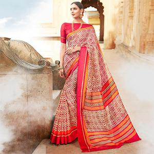 Beige-Pink Colored Casual Wear Printed Kota Silk Saree