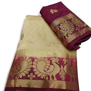 Traditional Beige Colored Festive Wear Nylon Silk Saree