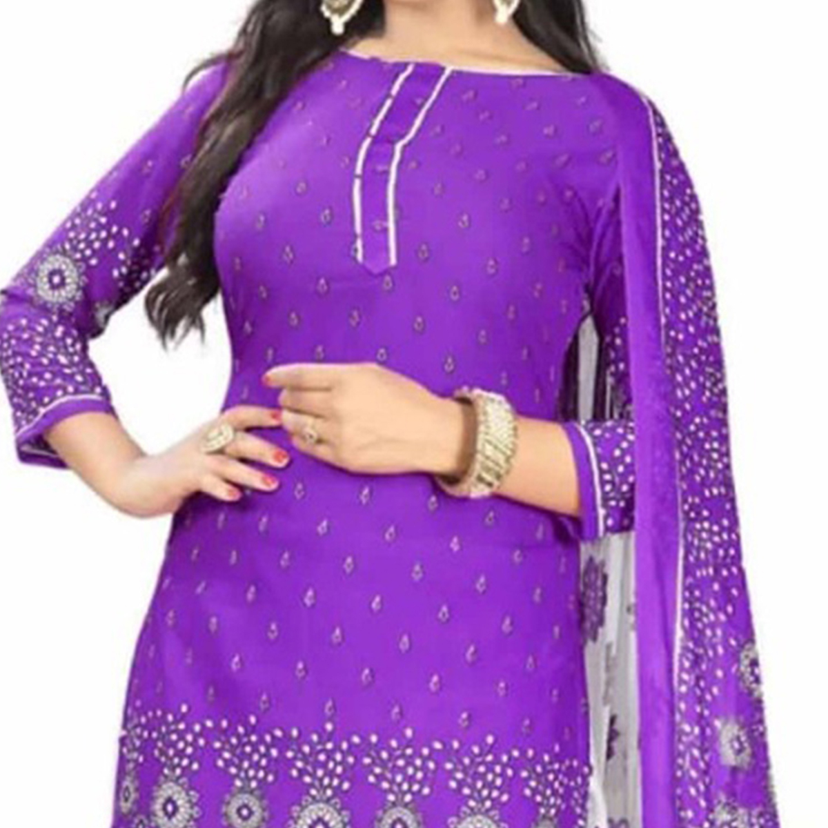 Purple Colored Casual Wear Leon CrapeDress Material