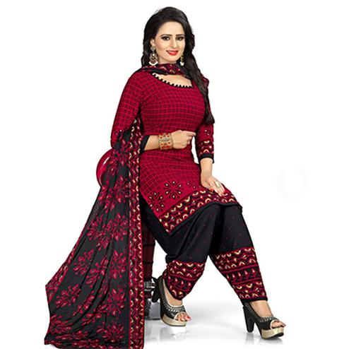Maroon Colored Casual Wear Leon Crape Dress Material
