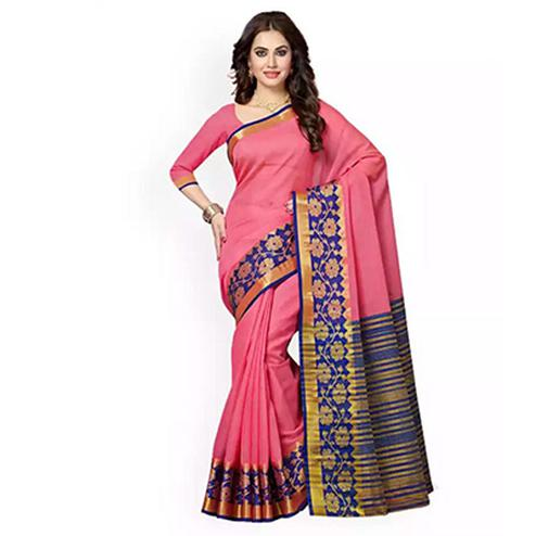 Pink Colored Festive Wear Weaving Cotton Silk Saree
