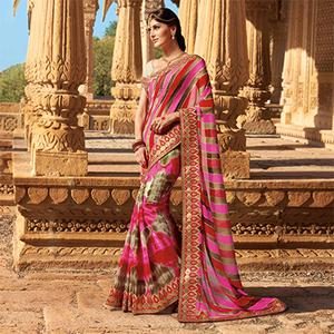 Multicolored Traditonal Design Georgette Saree