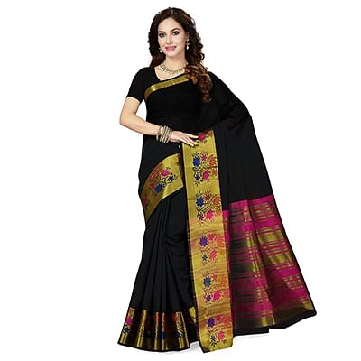 Black-Pink Colored Festive Wear Weaving Cotton Silk Saree