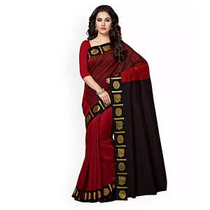 Maroon Colored Festive Wear Weaving Cotton Silk Saree