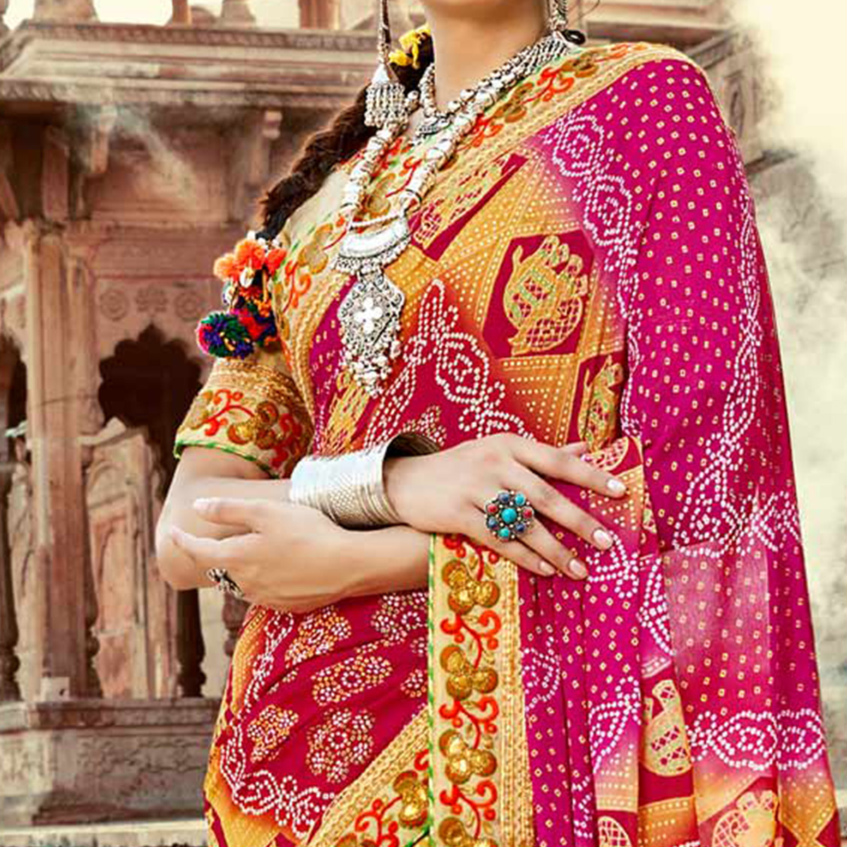 Yellow-Pink Colored Traditional Bandhani Printed Georgette Saree