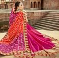 Deep Pink-Red Colored Traditional Bandhani Printed Georgette Saree