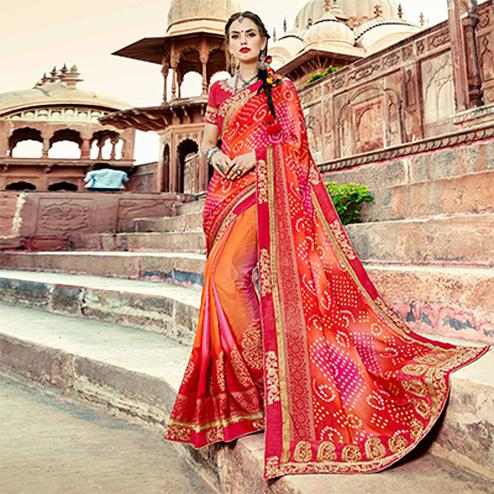 Red Colored Traditional Bandhani Printed Georgette Saree