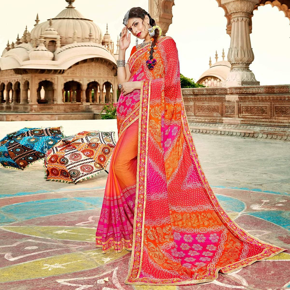 Orange-Pink Colored Traditional Bandhani Printed Georgette Saree