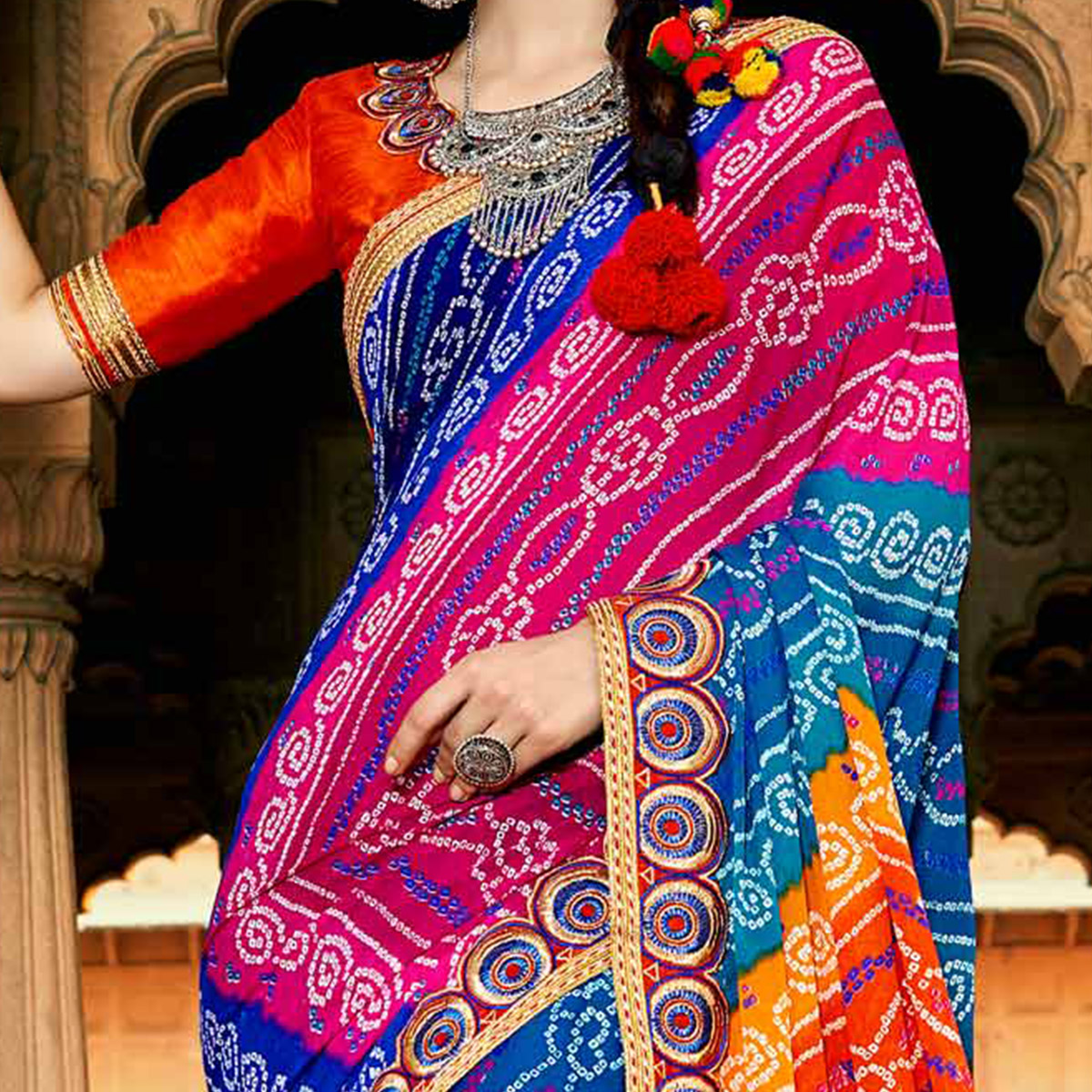 Blue-Pink Colored Traditional Bandhani Printed Georgette Saree