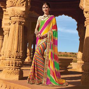 Multicolored Partywear Georgette Saree