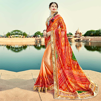Peach-Red Colored Traditional Bandhani Printed Georgette Saree
