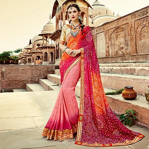 Shaded Pink-Orange Colored Traditional Bandhani Printed Georgette Saree