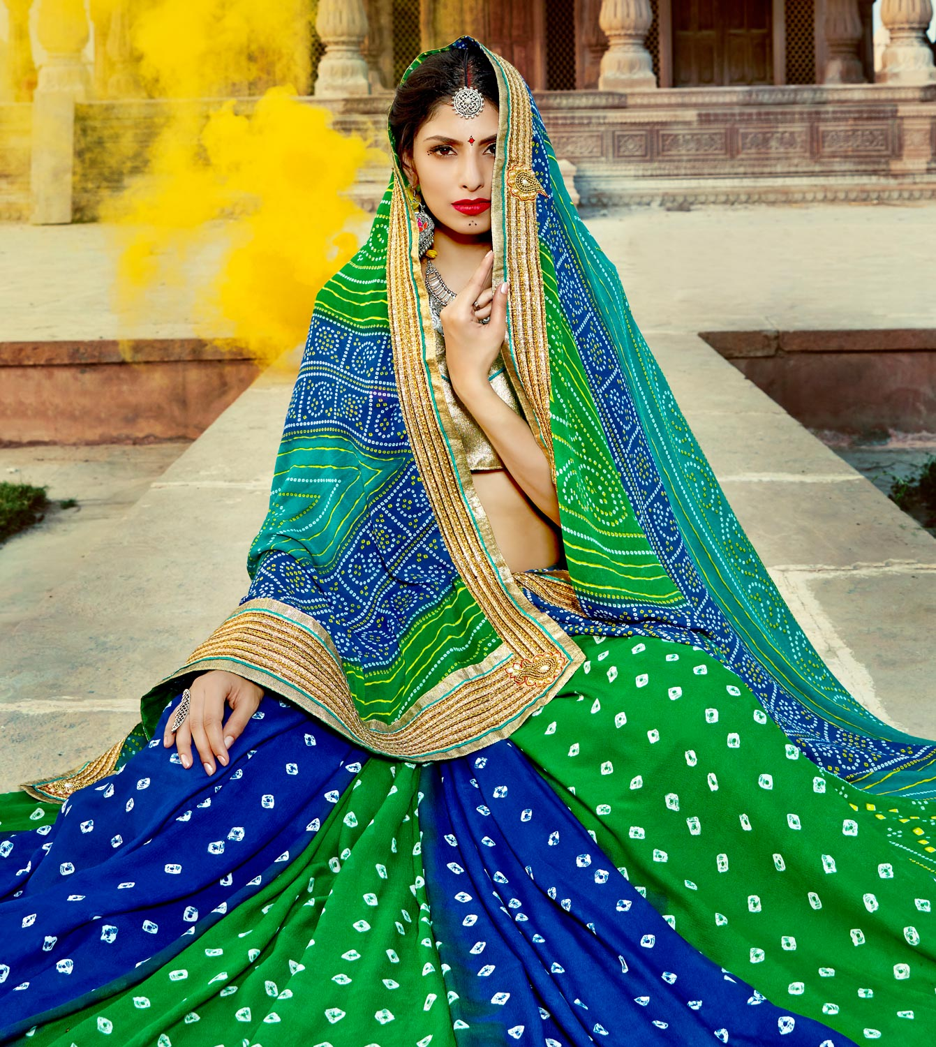 Green-Blue Colored Traditional Bandhani Printed Georgette Saree