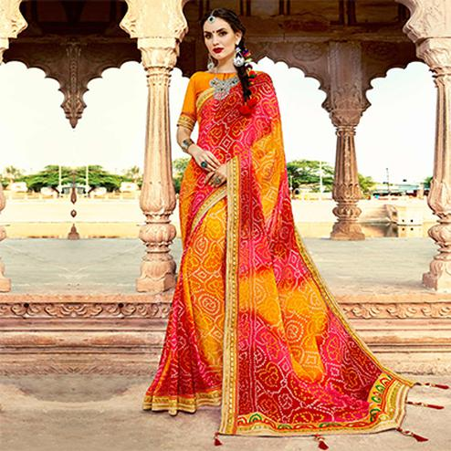 Multi Colored Traditional Bandhani Printed Georgette Saree