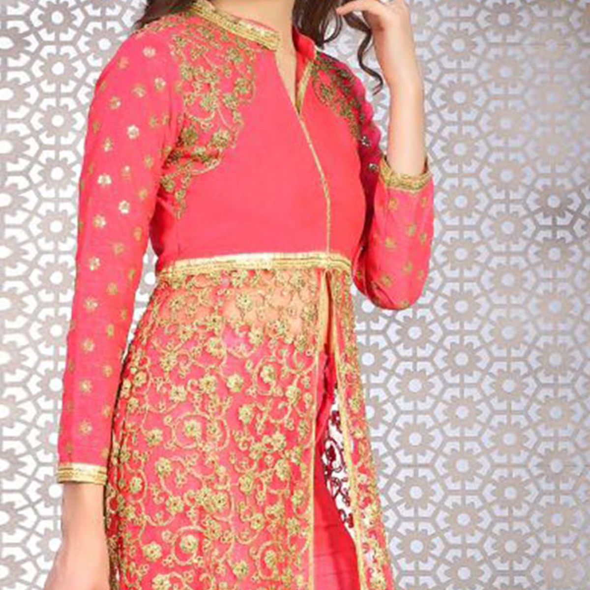 Deserving Pink Colored Designer Embroidered Banglori Silk Lehenga / Anarkali