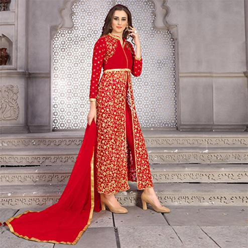 Majesty Red Colored Designer Embroidered Banglori Silk Lehenga / Anarkali