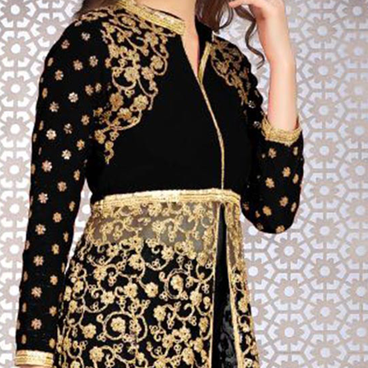 Precious Black Colored Designer Embroidered Banglori Silk Lehenga / Anarkali