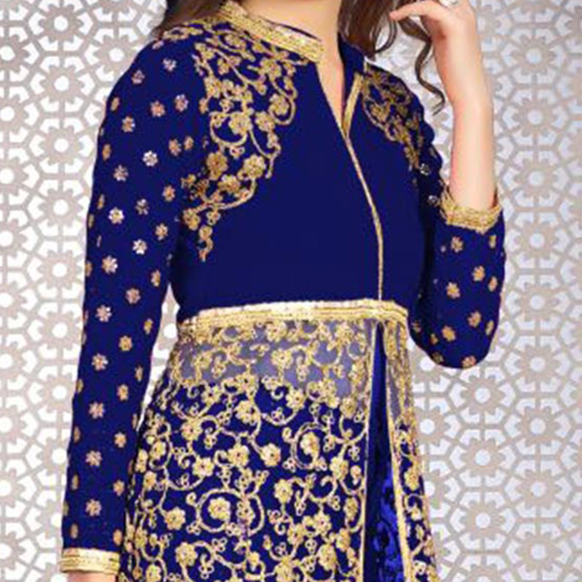 Snazzy Blue Colored Designer Embroidered Banglori Silk Lehenga / Anarkali