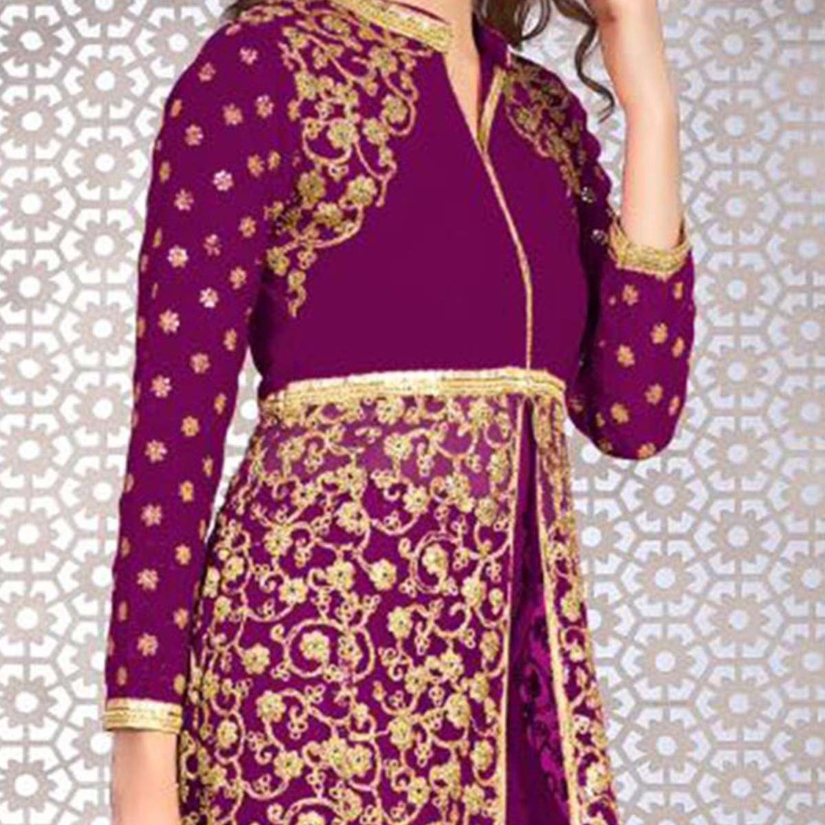 Glorious Purple Colored Designer Embroidered Banglori Silk Lehenga / Anarkali