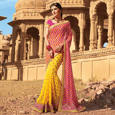 Yellow - Pink Festive Wear Georgette Saree