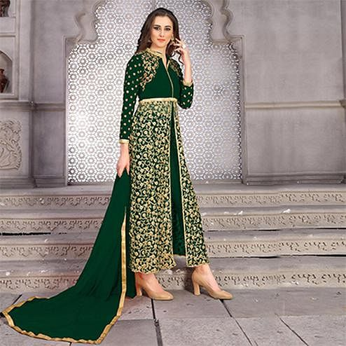 Adorning Green Colored Designer Embroidered Banglori Silk Lehenga / Anarkali