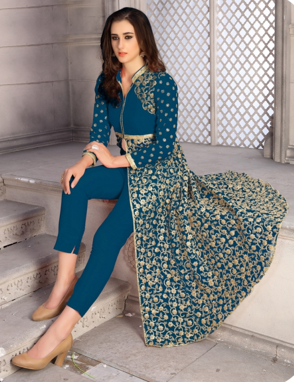 Pretty Teal Blue Colored Designer Embroidered Banglori Silk Lehenga / Anarkali