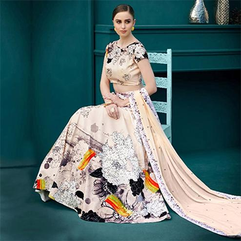 Gratifying Cream Colored Designer Partywear Digital Printed Silk Lehenga Choli