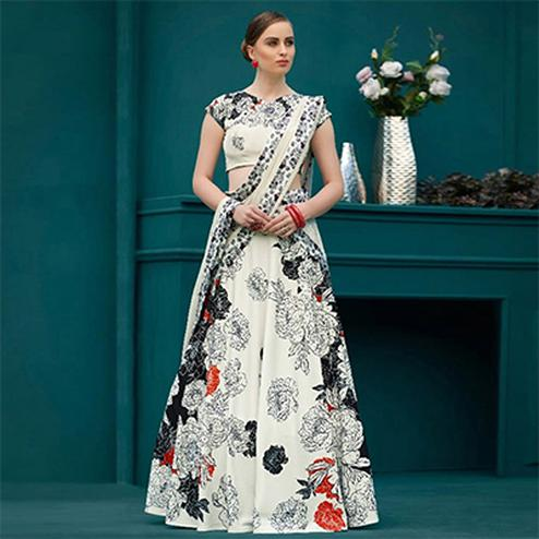Phenomenal Off-White Colored Designer Partywear Digital Printed Silk Lehenga Choli