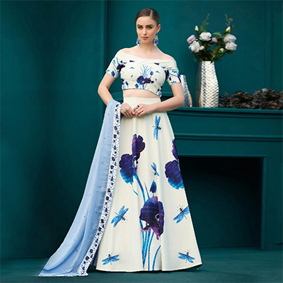 Outstanding Off-White Colored Designer Partywear Digital Printed Silk Lehenga Choli