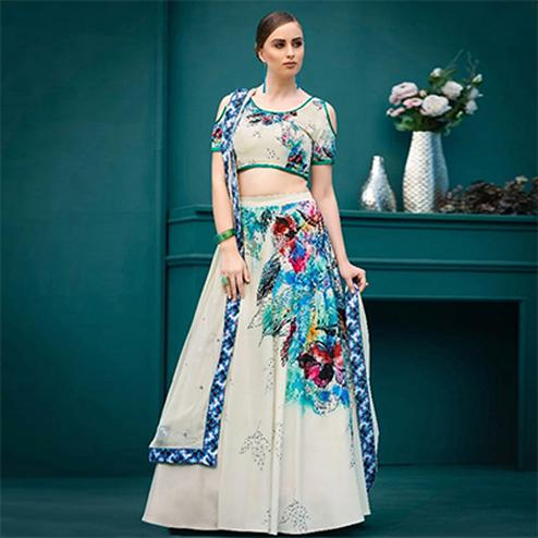 Invaluable Cream Colored Designer Partywear Digital Printed Silk Lehenga Choli