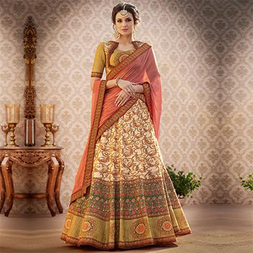 Deserving Green Colored Designer Partywear Digital Printed Woven Banarasi Silk Lehenga Choli