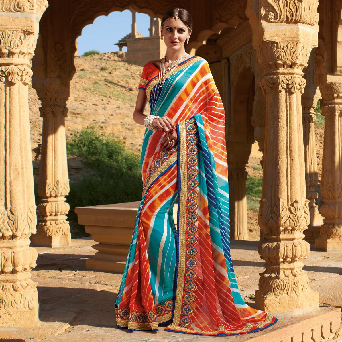 Blue - Orange Traditonal Design Georgette Saree