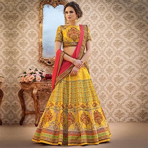 Gorgeous Yellow Colored Designer Partywear Digital Printed Woven Banarasi Silk Lehenga Choli