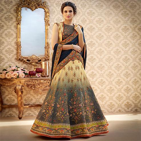 Trendy Grey Colored Designer Partywear Digital Printed Woven Banarasi Silk Lehenga Choli