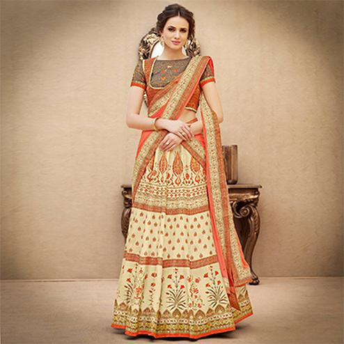 Glowing Orange-Beige Colored Designer Partywear Digital Printed Woven Banarasi Silk Lehenga Choli