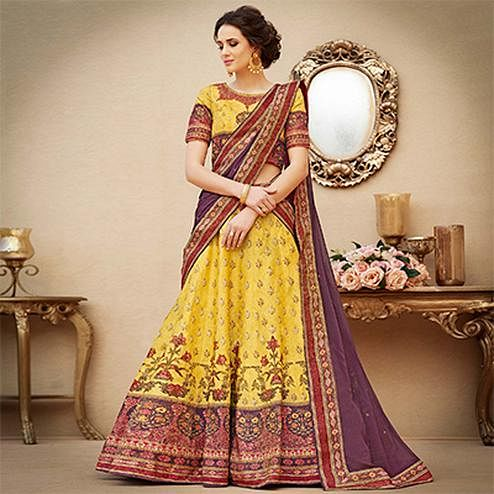 Dazzling Yellow Colored Designer Partywear Digital Printed Woven Banarasi Silk Lehenga Choli