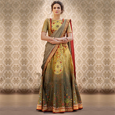 Mesmerising Green Colored Designer Partywear Digital Printed Woven Banarasi Silk Lehenga Choli