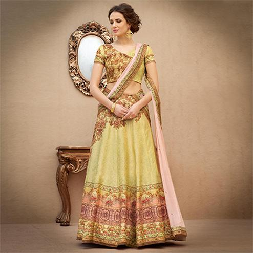 Eye-Catching Green Colored Designer Partywear Digital Printed Woven Banarasi Silk Lehenga Choli