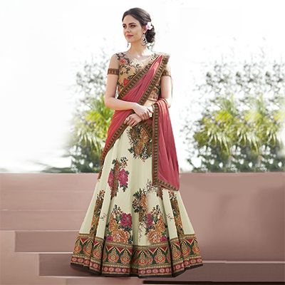 Elegant Cream Colored Designer Partywear Embroidered Silk Lehenga Choli