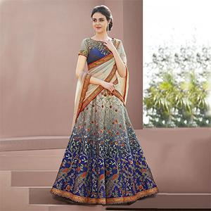 Beautiful Blue Colored Designer Partywear Embroidered Silk Lehenga Choli