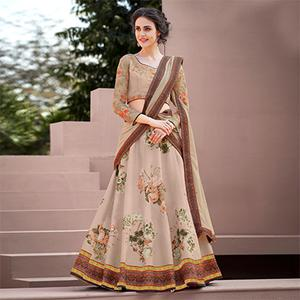 Trendy Brown Colored Designer Partywear Embroidered Silk Lehenga Choli