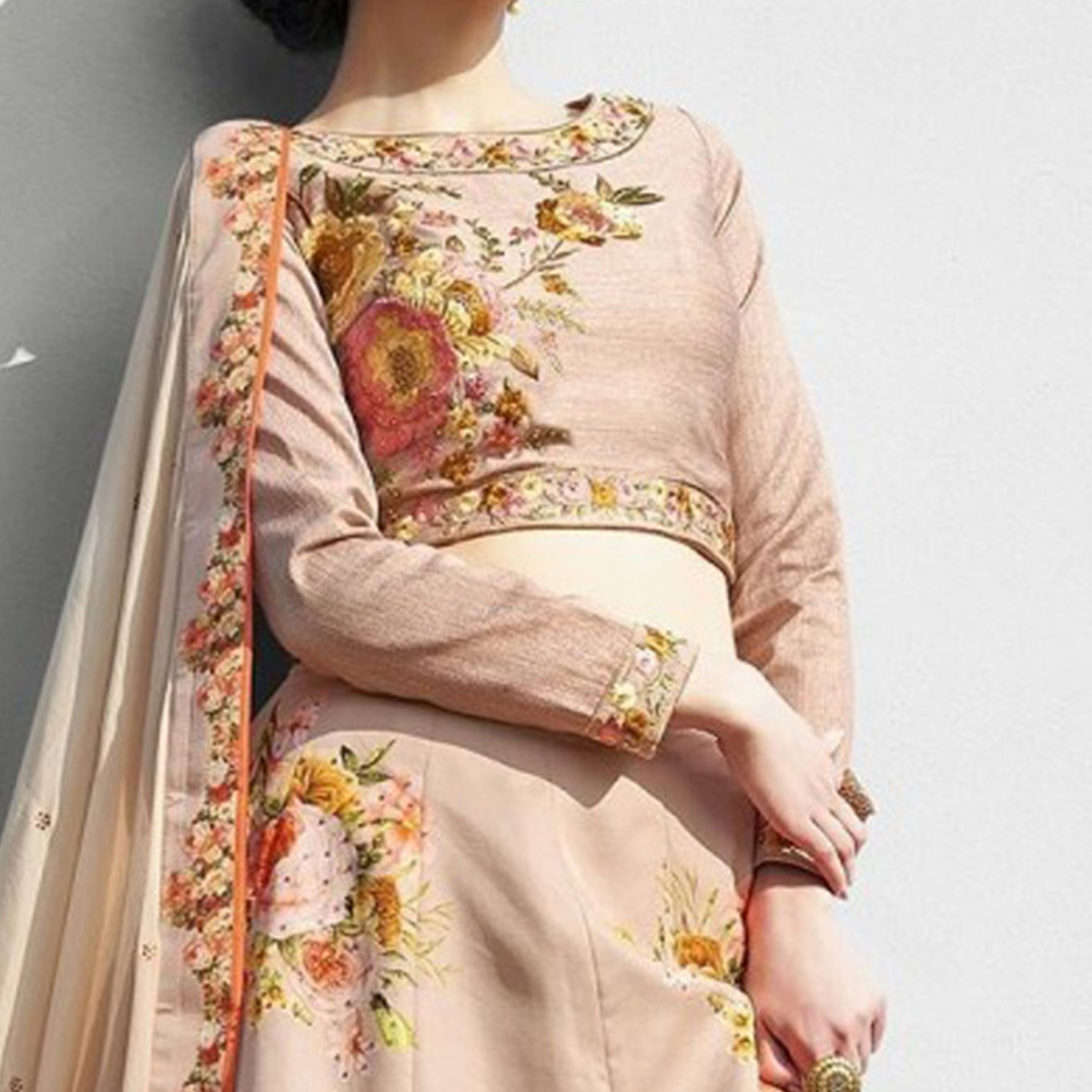 Attractive Beige Colored Designer Partywear Embroidered Silk Lehenga Choli