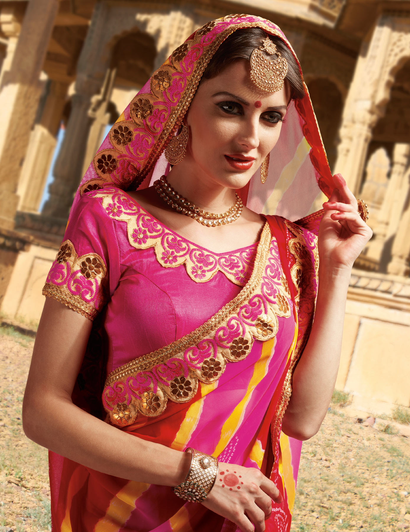 Pink - Red Georgette Embroidered Border Saree