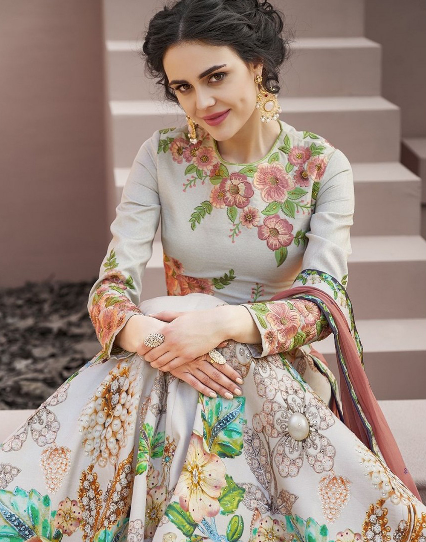 Mesmerising Grey Colored Designer Partywear Embroidered Silk Lehenga Choli
