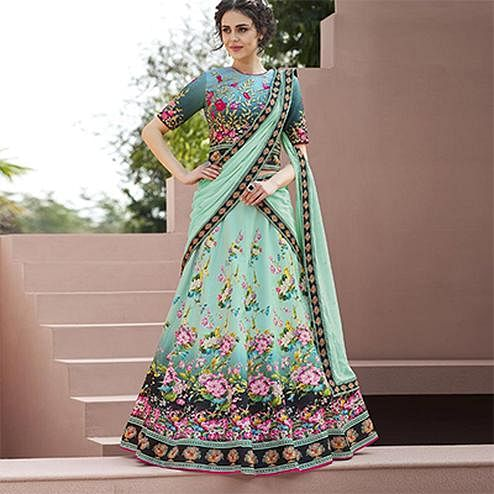 Eye-Catching Mint Green Colored Designer Partywear Embroidered Silk Lehenga Choli