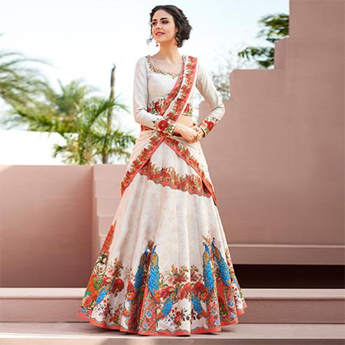 Dazzling Off-White Colored Designer Partywear Embroidered Silk Lehenga Choli
