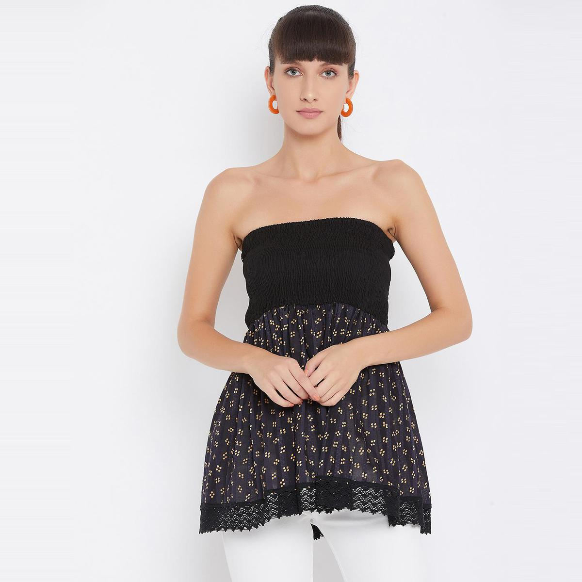 Ruhaan's - Womens Black Printed With Lace Work Rayon Tube Top