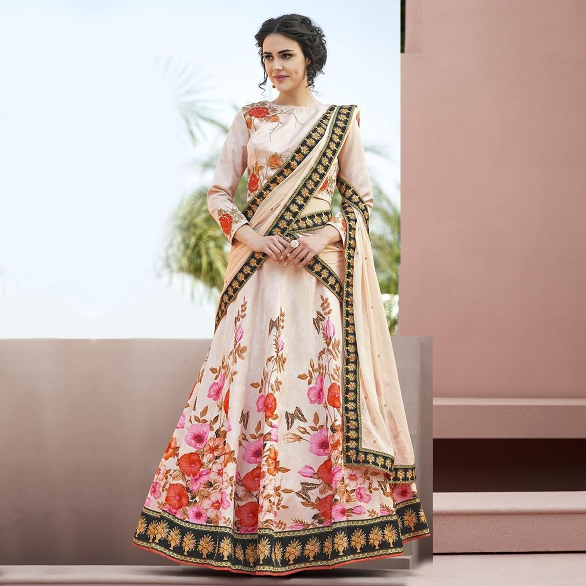 Unique Cream Colored Designer Partywear Embroidered Silk Lehenga Choli