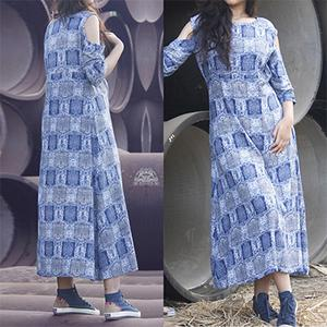 Beautiful Blue Colored Casual Printed Cotton Tunic