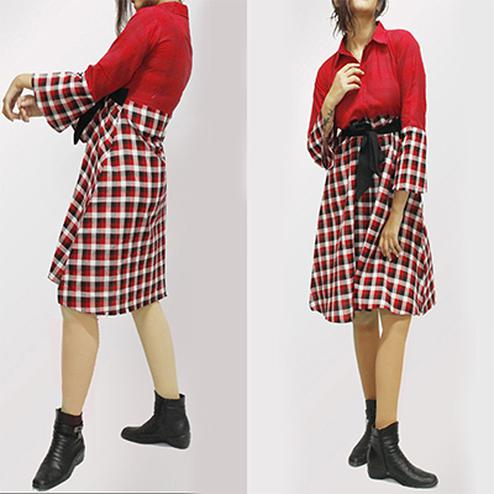 Attractive Red Colored Checked Cotton Tunic